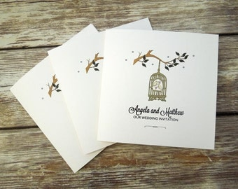 Vintage Birdcage and Love Birds Wedding Invitations **sample wedding invite only**