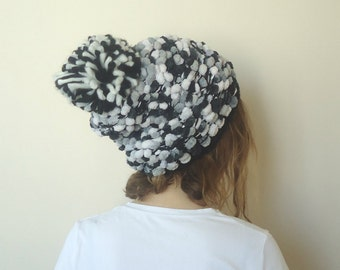 HAND KNİTTED Black Gray hat,slouchy beanie ,big pompom