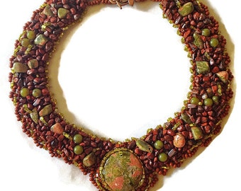 Beaded Necklace, Bead Embroidered Collar, Unakite Cabachon, Autumn Colors