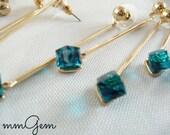 Tassel earrings, elegant, delicate, minimalistic, long, teal, crystal, cubes, very long, 2015 trend, gold plated, wedding, bridesmaid