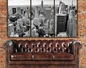 New York Skyline in B&W Canvas Art - New York Empire State, New York Canvas, New York Poster, New York Photo, Large Wall art
