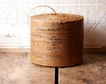 Vintage Large Spool of Waxed Sisal Binder Twine - Industrial, Rustic Barnyard Decor