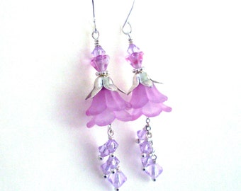 Lilac lucite flower earrings, crystal dangle long layered earrings, pink lilac, bright silver, Spring flower lucite jewelry