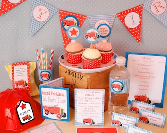 Fire Truck Birthday Party Printable Kit - INSTANT DOWNLOAD -BONUS Editable Hat Labels