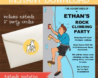 Rock Climbing Invitation DIY Printable Kit - Instant Download - Tintin inspired