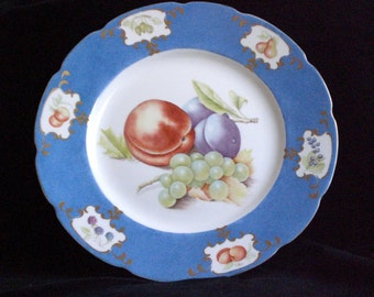 hand painted plate,  fruit designs, bone china plate, plates, blue fruit plate,