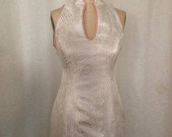 White Brocade Long Modern Cheongsam Wedding Dress, Size Small (6) or Custom