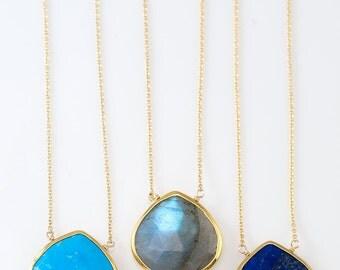 Blue Lapis Necklace - Gemstone necklace - Something blue - September Birthstone - Layered Necklace - Gemstone Pendant - Bridesmaid Necklace