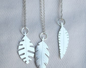 leaf pendant silver leaf necklace handmade leaf necklace tiny leaves tropical jewelry