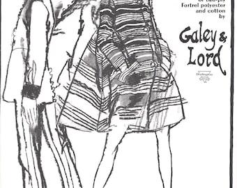 1966 Fashion Illustration Charcoal Ink Wash - Bill Blass Coat for Maurice Rentner - Black & White Print Ad - Fashion Wall Art Gift Idea