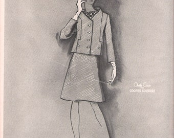 1967 Fashion Illustration Charcoal and Ink - Women's A-Line Suit by Cooper Couture - Gray Print Ad - Fashion Wall Art Gift Idea