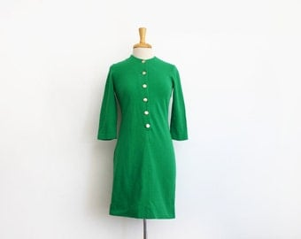 1960s grass green wool button down long sleeve dress size small or medium
