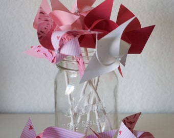 Valentine's Day Pinwheels Red and Pink Decor Red and Pink Favors Wedding Favors (Custom orders welcomed)