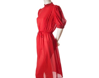 Vintage 70s 80s red striped dress -- semi sheer retro day dress -- size small or medium