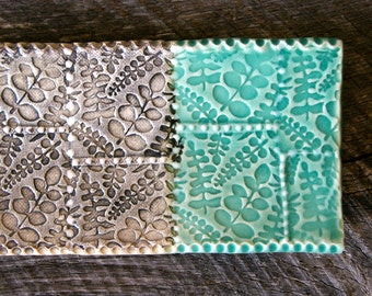 "One 9"" Tray with Texture, Porcelain Dots, and Leaf Impression by RiverStone Pottery"