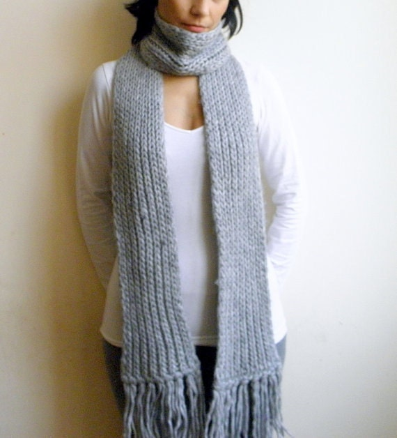 CUSTOM ORDER for boriquak -Extra Long chunky luxurious scarf  grey wool fringes man woman wrap