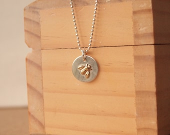 Bumble Bee Silver Pendant, Two Tone Nature Pendant in Silver and Brass, Bee Necklace