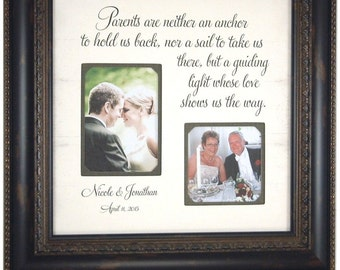 Parents Wedding Gift, Thank You Gift For Parents, Wedding Gift Parents, Personalized Picture Frame, Parents Are Neither an Anchor, 16 X 16