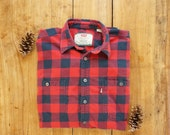 Vintage Levi's Buffalo Plaid Flannel, Men's Size L