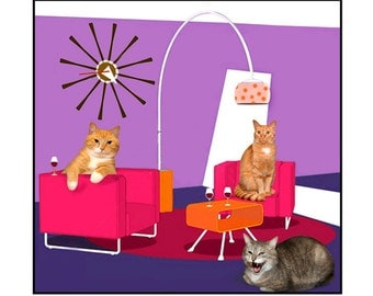 Mid Century Modern, Cats, photo collage, Purple, Magenta, fun, funny, silly, Photography collage Note Card - Blank Inside