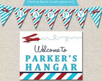 Vintage Airplane Birthday Party Kit - printable invitation, thank you card, banner, sign, party circles, favor tags, food drink labels