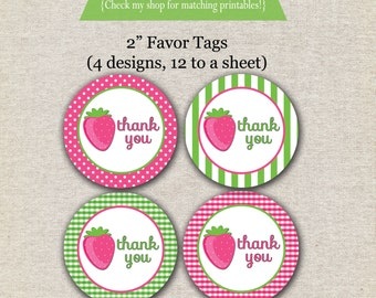 Strawberry Shortcake inspired favor tags, stickers, printable, digital, etc. INSTANT DOWNLOAD