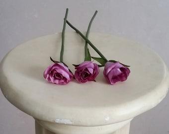 Wedding accessories Silk flower stems - set of 3 - Lavender DIY Bridal craft flower supply bouquet making Centerpieces corsages boutonnieres