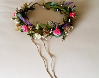 Destination Wedding flower crown Goddess circlet tropical hot pink Bridal garland greenery ivy vine fairy halo Wedding Accessories