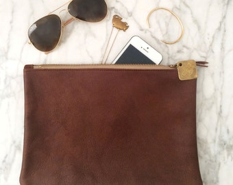 Large Leather Clutch - Cognac, Black, Navy, Merlot or Forest Green