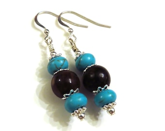Turquoise & Bronzite Earrings, Turquoise Earrings, Blue Earrings, Brown Earrings, Dangle Earrings