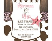 Cowgirl western birthday Invitation, customizable 5x7, pink and brown, boots, girl,  pink bandana, cow, brown and pink, party, digital file