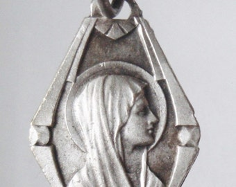 "Mary of Lourdes Vintage Religious Medal Pendant on 18"" sterling silver rolo chain"