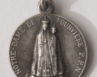 "Notre Dame of Fourviere Vintage Religious Medal Pendant on 18"" sterling silver rolo chain"