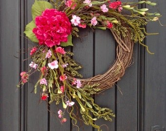"Spring Wreath Summer Wreath Pink Green Moss Wispy Wild Grapevine Door Wreath Decor...""Pink Essence"" Floral Door Decoration"