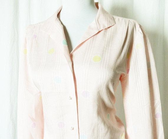 Vintage 80s Blouse Top S M Pink Pastel Polka Dot Long Sleeve