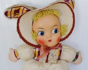 Vintage Bunny Girl Fabric Stuffed Doll