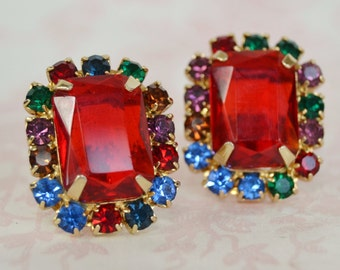 Vintage Clip-On Earrings with a Large Ruby Stone and Smaller Rhinestones