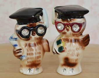 Vintage 1956 Owl Salt and Pepper Shakers with Rhinestone Eyes by Lefton