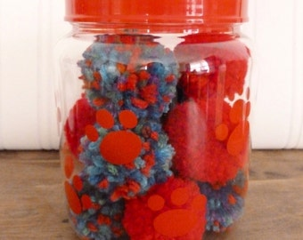 Catnip Pom Pom Cat Toys - Pawprint Container - Feline Catnip Toys - Collection of 10 toys