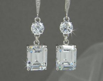 Crystal Bridal earrings  Emerald Cut Wedding jewelry Crystal Wedding earrings Bridal jewelry, Kaitlyn Crystal Drop Earrings