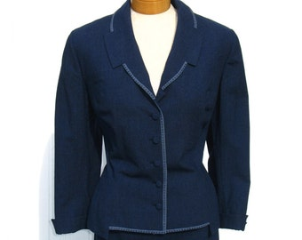 60s Suit * Edith Small Suit * Navy Blue Suit * Wiggle Skirt * Gabardine Wool Suit * 1960s Suit