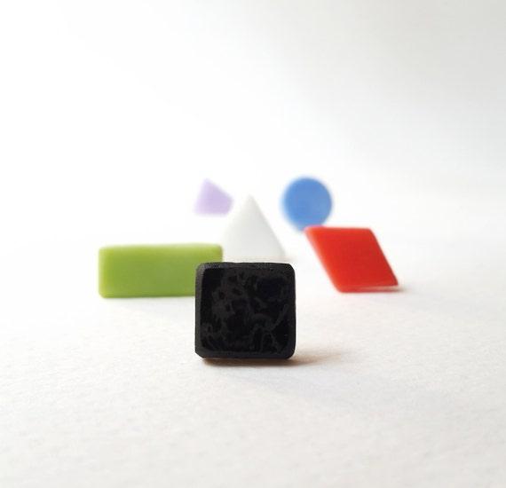 Geometric stud earrings, Single Earring, geometric glass stud earring, choose your color and shape