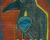 Raven Totem - Sacred Heart - Arrow - Vintage Ephemera - Original Art  - Altered