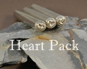 THREE Heart Metal Stamps - A Single, double and Spiral Heart