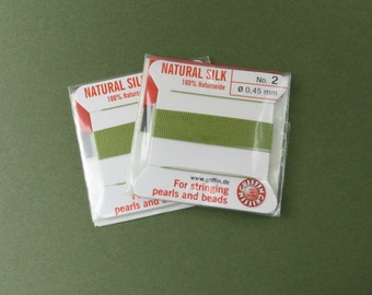 Natural Silk Cord With Needle - 2 packs - Size 2 - Jade Green