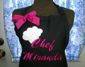 Personalized Apron, Chef Hat Apron, Monogrammed Apron, Kitchen Apron, Leopard Chef Hat