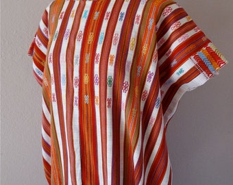"""SALE Collectors Fino Huipil tunic Chiapas Maya Red White traditional stripe handwoven cotton - large 30"""" wide by 30"""""""