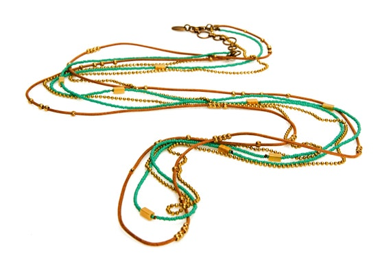 Turquoise Beads , Golden Charms and Beads Leather Wrap Necklace