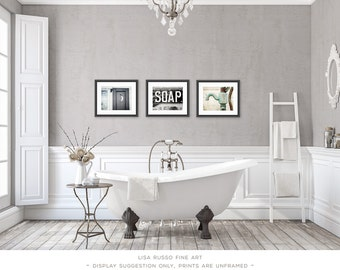 Bathroom Decor Set of 3 Photographs or Canvas Wraps, Bathroom Art Set,  Rustic Bathroom Decor, Vintage Shabby Chic Bathroom Art, Bath Decor.