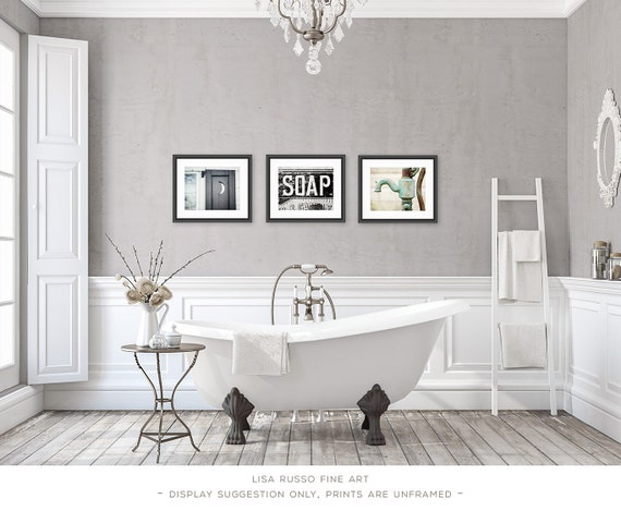 Rustic Bathroom Decor Vintage Shabby Chic Bathroom Art Bath Decor